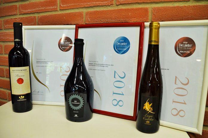 I tre vini della Cantina Valtidone premiati ai Decanter World Wine Awardspremi, Malvasia 50 Vendemmie, utturnio Bollo Rosso Riserva 2014, Malvasia Luna di Candia
