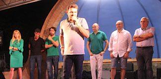 Il ministro per le Politiche agricole, Gian Marco Centinaio, alla Festa della Lega di Podenzano