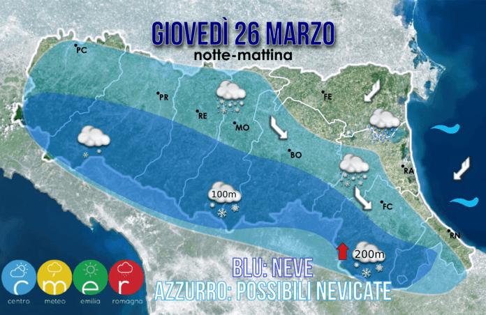 Possibili accumuli di neve per la giornata di domani sul Piacentino