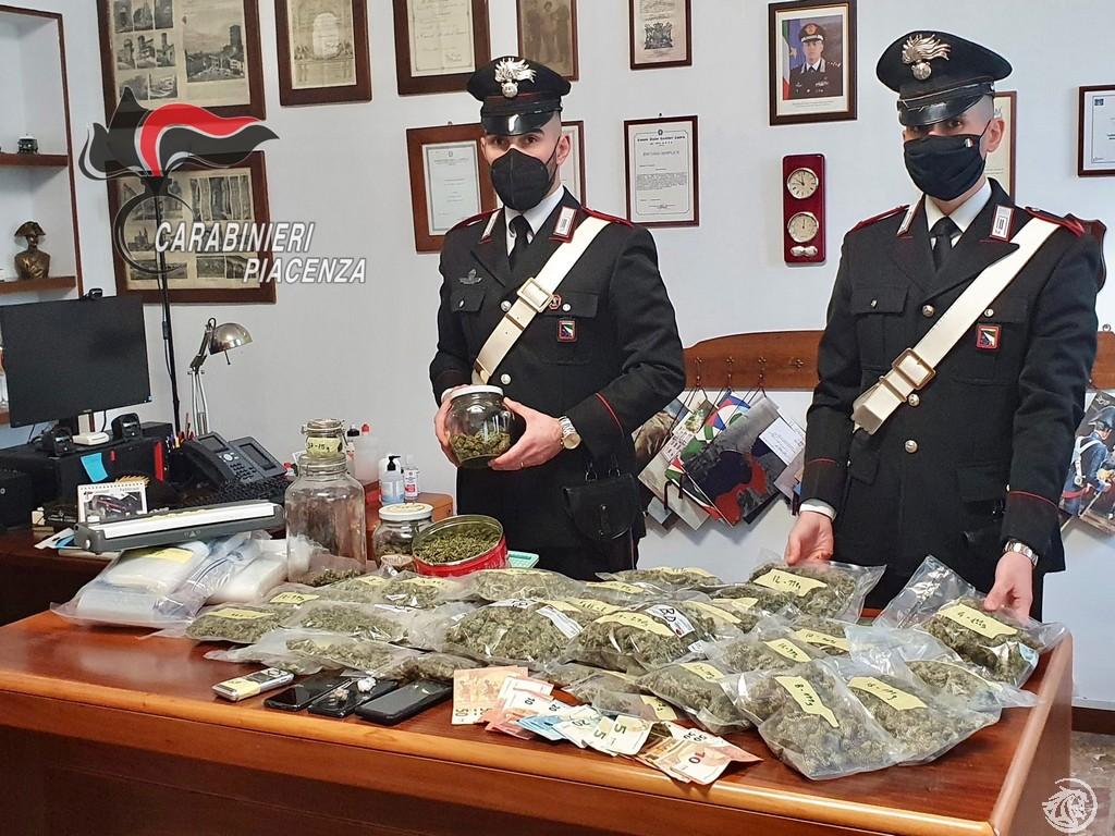 Carabinieri di Fiorenzuola sequestrano 3,2 kg. di droga